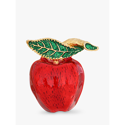 Eclectica Enamel Apple Brooch, Green/Red