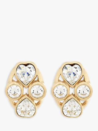 Eclectica Swarovski Crystal Heart Clip-On Earrings, Gold