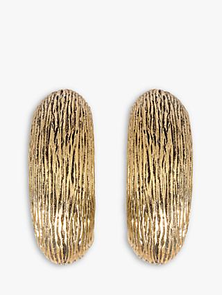 Eclectica Large Textured Clip-On Earrings, Gold