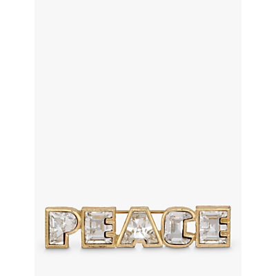 Eclectica Swarovski Crystal Peace Bar Brooch, Gold