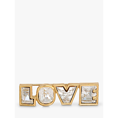 Eclectica Swarovski Crystal Love Bar Brooch, Gold