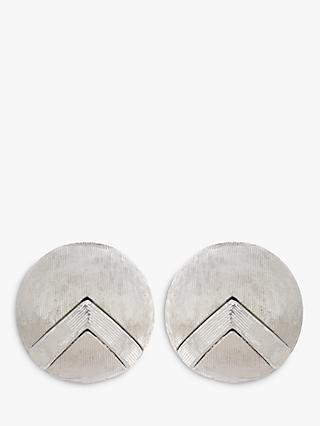 Eclectica Textured Small Round Clip-On Earrings, Silver