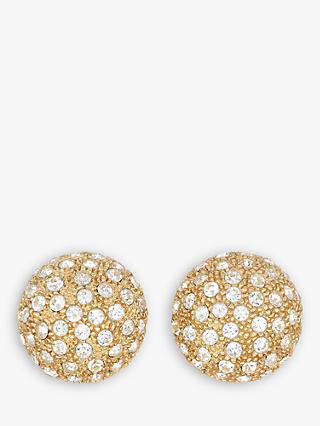 Eclectica Swarovski Crystal Domed Round Clip-On Earrings, Gold
