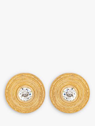 Eclectica Swarovski Crystal Round Clip-On Earrings, Gold