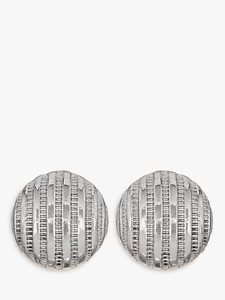 Eclectica Textured Stripe Round Clip-On Earrings, Silver