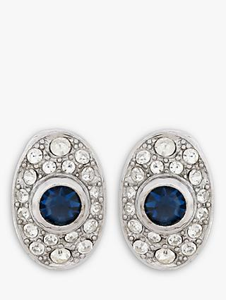 Eclectica Swarovski Crystal Oval Clip-On Earrings, Silver/Blue