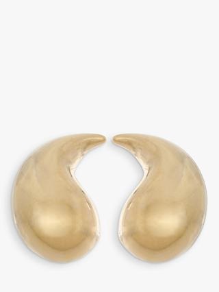 Eclectica Vintage Curved Clip-On Earrings, Gold