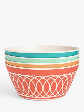 LEON Bamboo Picnic Bowls, 14.5cm, Set of 4, Assorted