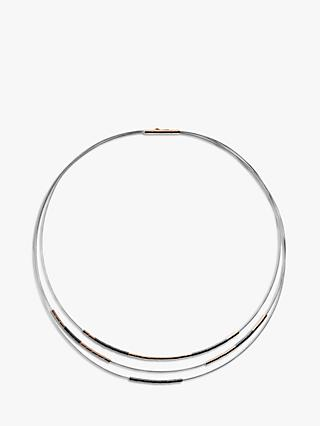 Skagen Polished Barrel Hematite Bead Chain Necklace, Rose Gold/Gunmetal SKJ1241998