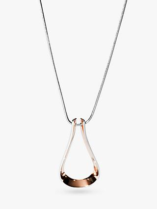 Skagen Loop Pendant Necklace, Silver/Rose Gold SKJ1228998