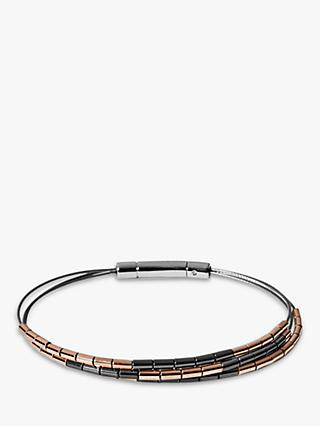 Skagen Polished Barrel Hematite Bead Chain Bracelet, Rose Gold/Gunmetal SKJ1242998