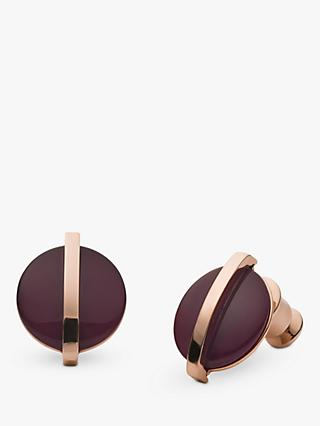 Skagen Sea Glass Circular Stud Earrings, Rose Gold/Purple SKJ1252791