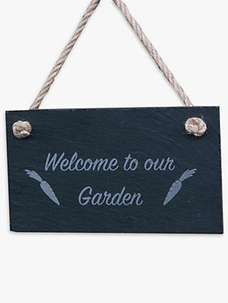 The House Nameplate Company Welcome To Our Garden Slate Sign