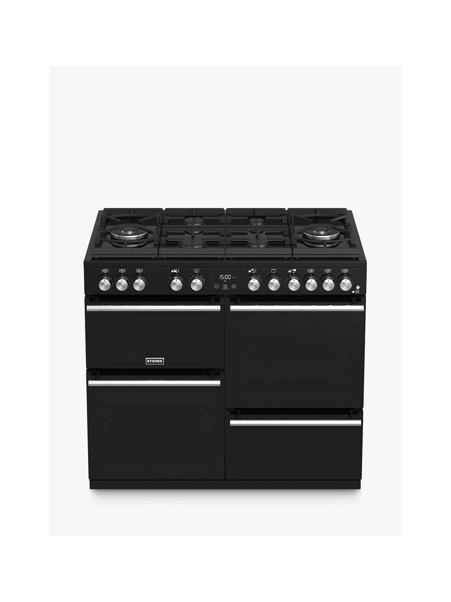 Buy Stoves Precision Deluxe S1000GTG Dual Fuel Range Cooker, A/A/A Energy Rating, Black Online at johnlewis.com