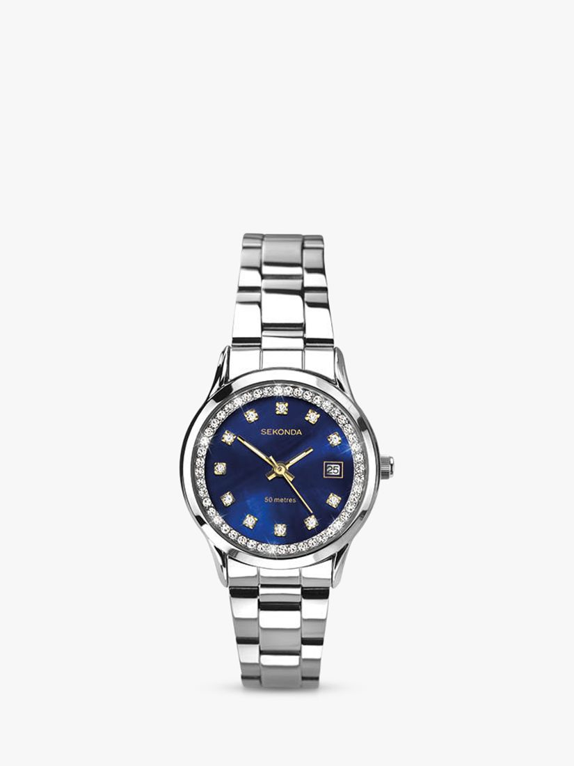 Sekonda Sekonda 2147 Women's Mother Of Pearl Crystal Bracelet Strap Watch, Silver/Midnight Blue