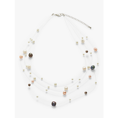 John Lewis & Partners Faux Pearl Illusion Layered Necklace, Multi
