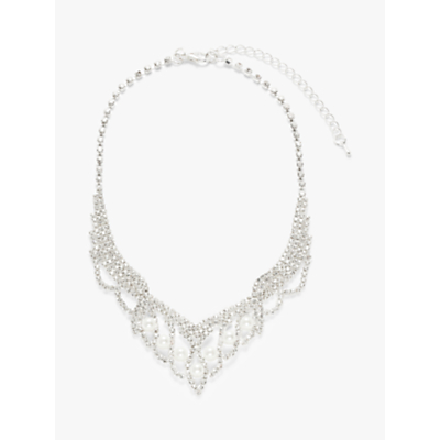 John Lewis & Partners Faux Pearl and Cubic Zirconia Short Necklace, Silver