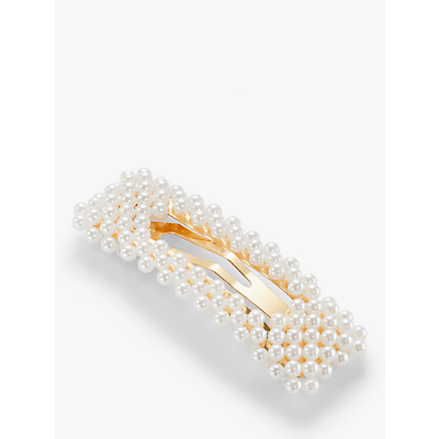 John Lewis & Partners Rectangular Faux Pearl Hair Clip, Pack of 2, White