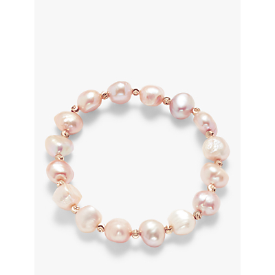 John Lewis & Partners Beaded Pearl Stretch Bracelet, Pink