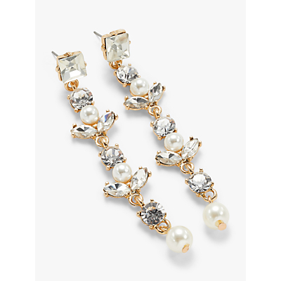 John Lewis & Partners Cubic Zirconia Faux Pearl and Glass Crystal Long Drop Earrings, Gold/Clear