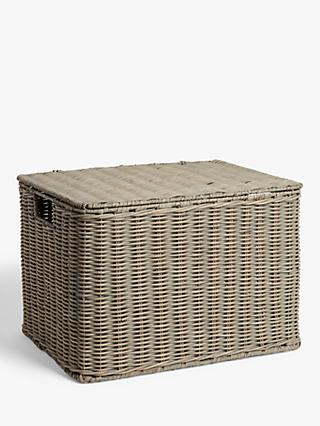 Croft Collection Rattan Storage Basket, Grey, Medium