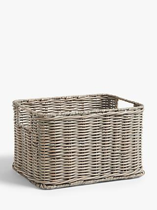 Croft Collection Rattan Storage Basket, Grey, Small