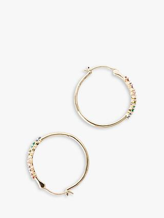 hush Cerces Cubic Zirconia Hoop Earrings, Gold/Multi