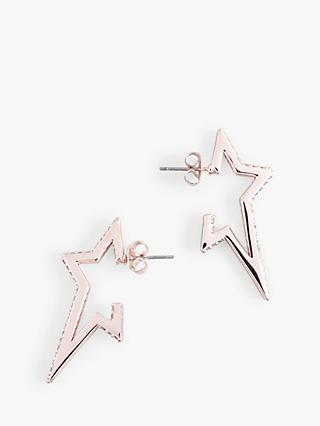 hush Pepa Glass Crystal Star Drop Earrings, Rose Gold