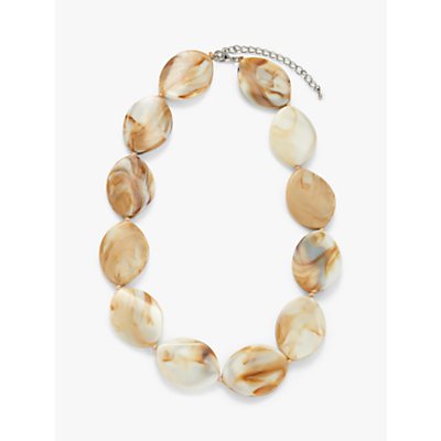 John Lewis & Partners Beaded Short Statement Necklace, Beige/Caramel