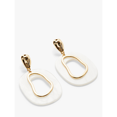 John Lewis & Partners Pearlescent Resin Statement Earrings, White