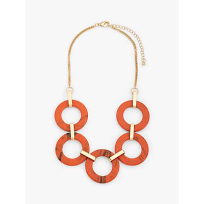 John Lewis & Partners Resin Circle Short Statement Necklace, Gold/Orange