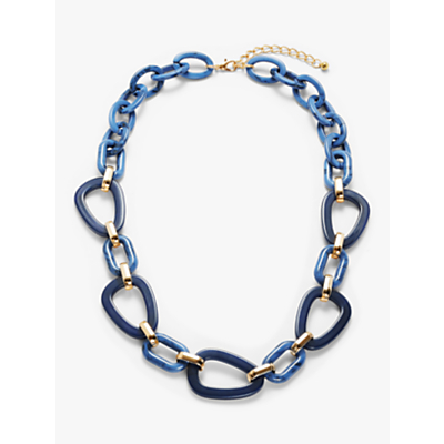 John Lewis & Partners Contrast Resin Link Long Necklace, Turquoise/Indigo