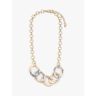 John Lewis & Partners Articulated Resin Oval Link Statement Necklace, Gold/Multi