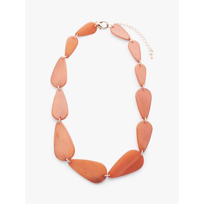 John Lewis & Partners Asymmetric Bead Short Statement Necklace, Burnt Orange