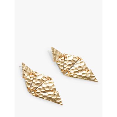 John Lewis & Partners Hammered Kite Statement Drop Earrings, Gold
