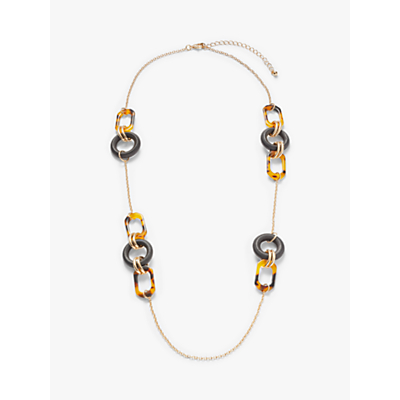 John Lewis & Partners Multi Link Long Chain Necklace, Gold/Multi