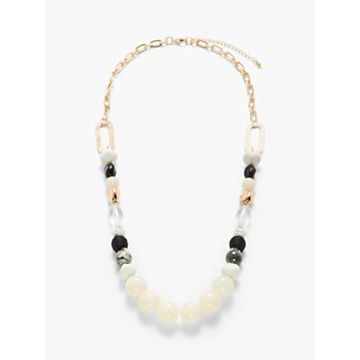 John Lewis & Partners Chunky Bead Long Necklace, White/Multi