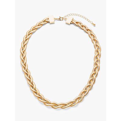 John Lewis & Partners Plait Chain Short Necklace, Gold