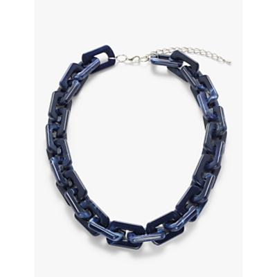 John Lewis & Partners Rectangular Resin Link Necklace, Indigo