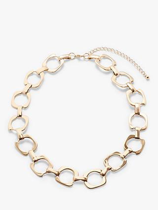 John Lewis & Partners Square Link Short Chain Necklace, Gold