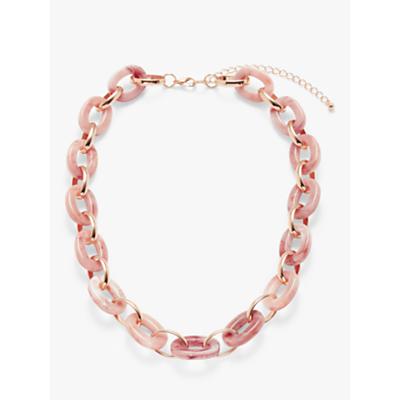 John Lewis & Partners Resin Link Necklace, Pale Pink