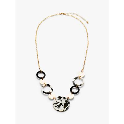 John Lewis & Partners Circle Long Necklace, White/Black