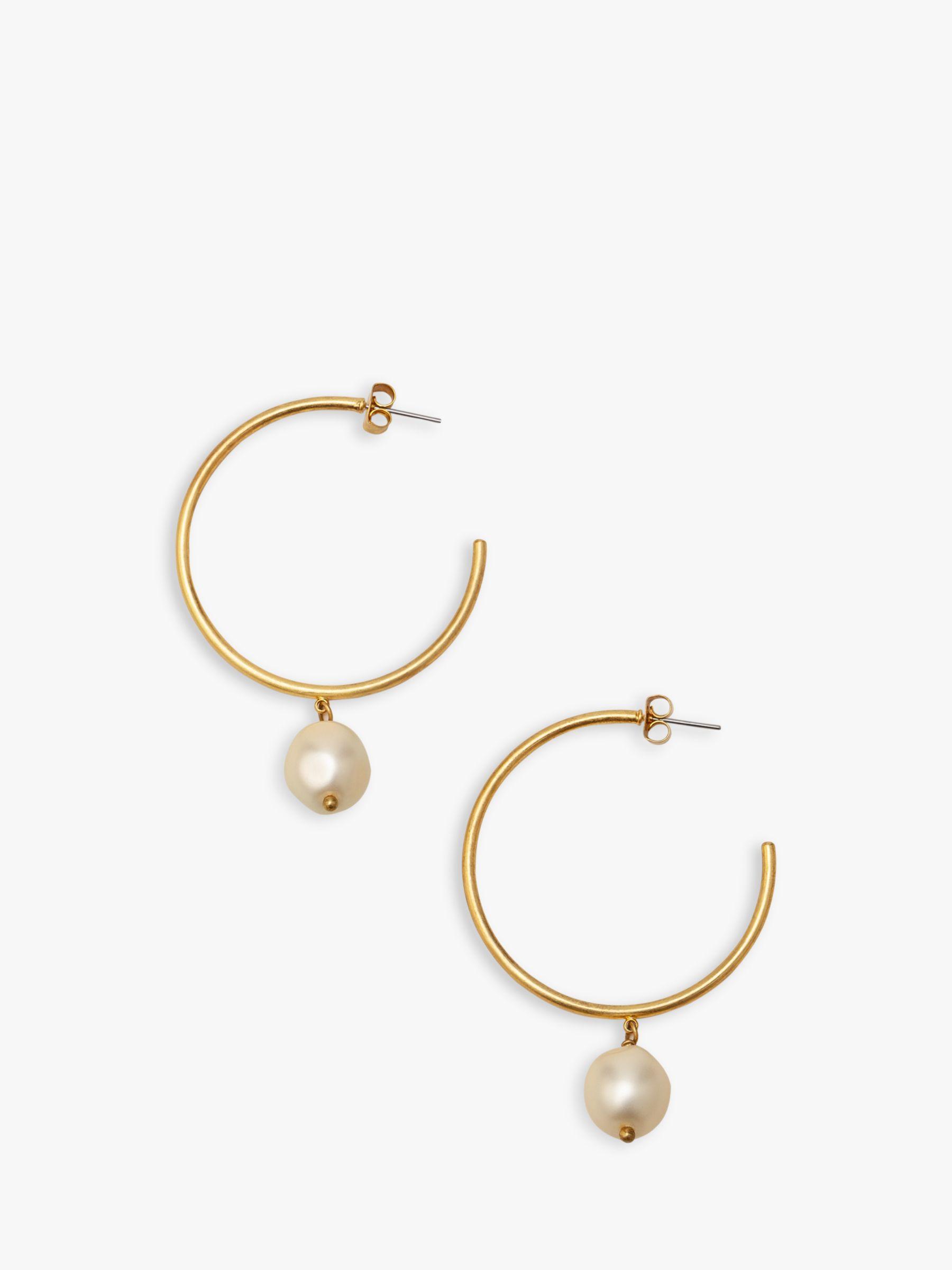 Boden Boden Faux Pearl Hoop Earrings, Gold