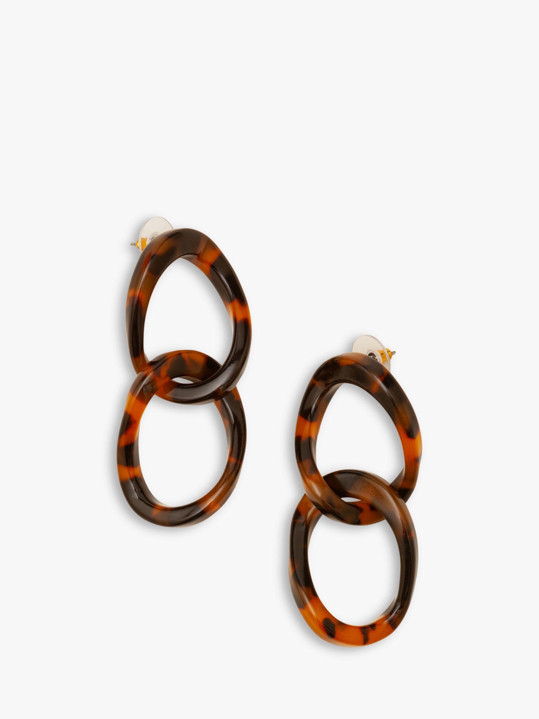 Boden Boden Resin Link Drop Earrings, Brown