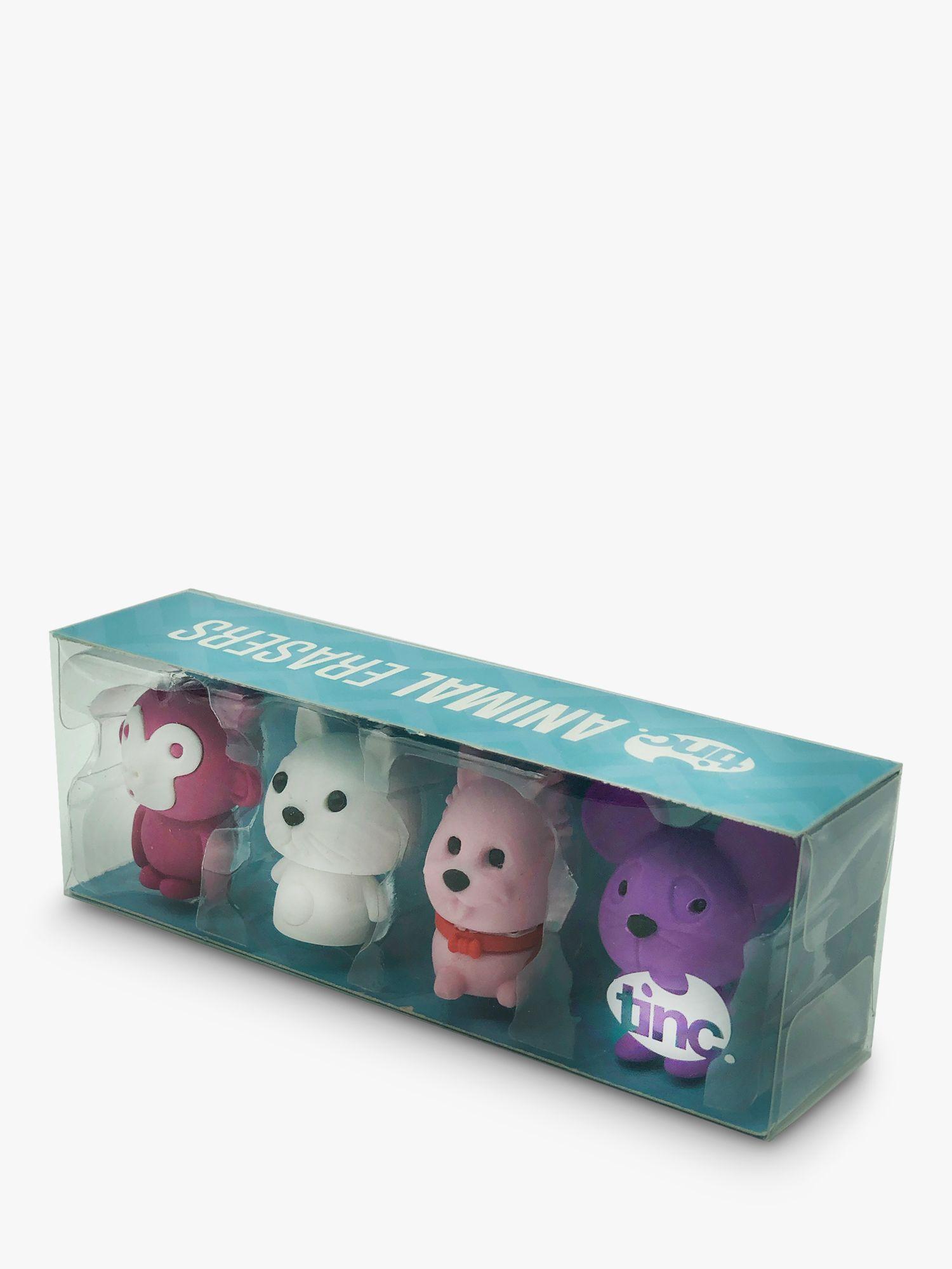 Tinc Tinc Pink Animal Erasers, Pack of 4