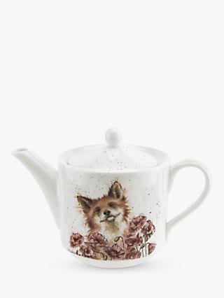 Wrendale Designs Poppy Field Fox Teapot, 600ml, White/Multi