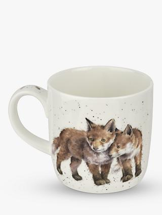 Wrendale Designs Born To Be Wild Foxes Mug, 310ml, White/Multi