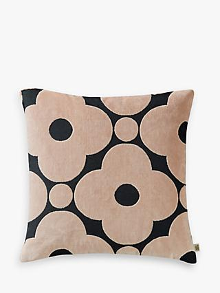 Orla Kiely Velvet Spot Flower Cushion, Grey / Pink
