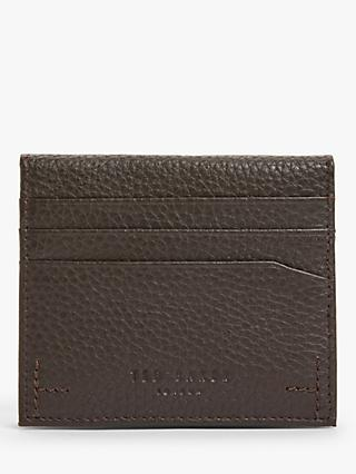 Ted Baker Banks Leather Card Holder, Chocolate
