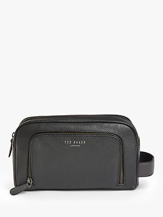 Ted Baker Miel Leather Wash Bag, Black